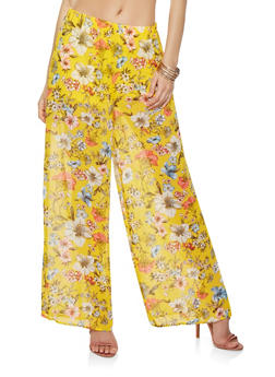 Floral Chiffon Palazzo Pants - 1407069393161