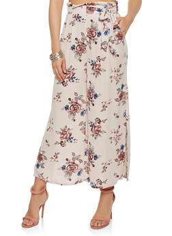 Floral Paper Bag Waist Palazzo Pants - 1407069393283