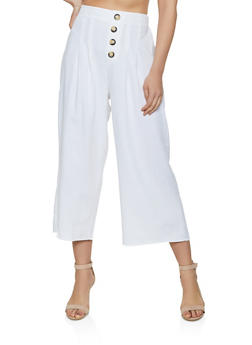 Button Detail Cropped Gaucho Pants - 1407069395211