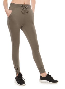 Lace Up Leg Sweatpants - 1407069396840