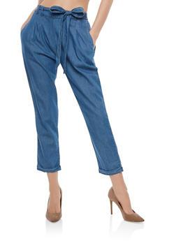 Belted Denim Pants - 1407069396858