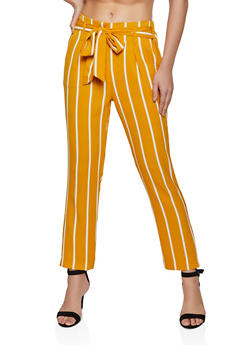 Striped Crepe Knit Tie Front Pants - 1407069396904