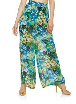Sheer Floral Palazzo Pants - 1407069396920