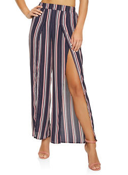 Striped Split Leg Palazzo Pants - 1407069396926