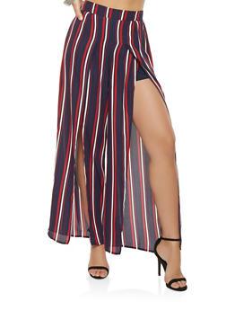 Striped Split Leg Palazzo Pants - 1407069396926