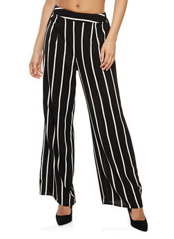 Striped Crepe Knit Palazzo Pants - 1407069397025