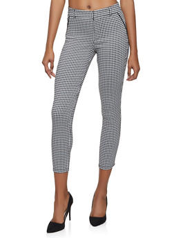 Houndstooth Cropped Dress Pants - 1407069397085