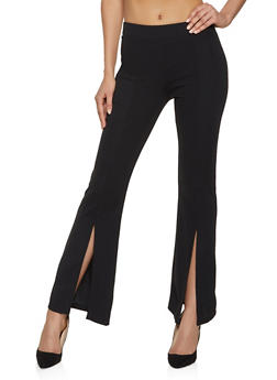 Split Hem Flared Dress Pants - 1407069397177