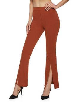 Split Hem Flared Dress Pants - 1407069397177