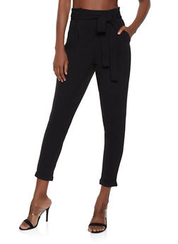 Fixed Cuff Tie Waist Trousers - 1407069397249