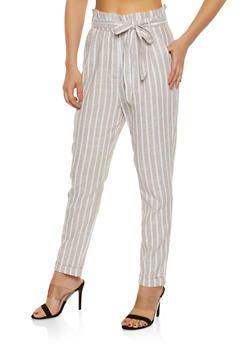 Striped Linen Paper Bag Waist Pants - 1407069397263