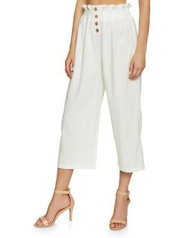 Paper Bag Waist Linen Trousers - 1407069397264