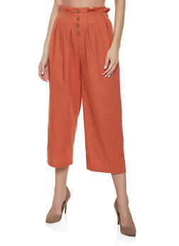 Paper Bag Waist Linen Trousers - 1407069397264