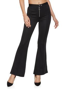 Pintuck Flared Dress Pants - 1407069397491