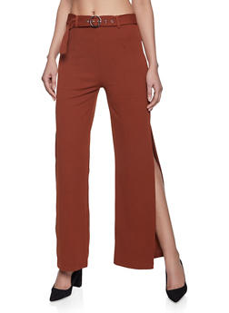 Belted Wide Leg Dress Pants - 1407069397514
