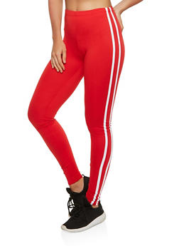 Side Stripe Soft Knit Leggings - 1407072240053