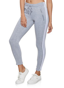 Pintuck Varsity Stripe Sweatpants - 1407072290011