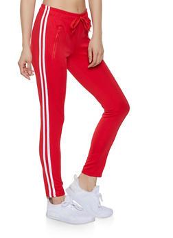 Varsity Stripe Pintuck Track Pants - 1407072290119