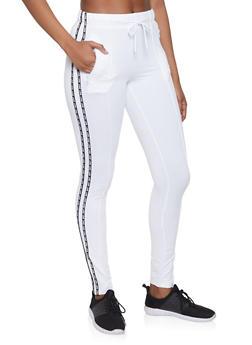 Love Graphic Varsity Stripe Track Pants - 1407072290281