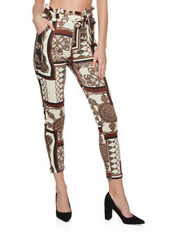 Printed Paper Bag Waist Dress Pants - 1407072291002