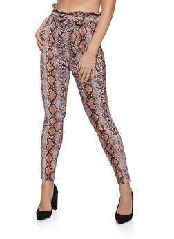 Snake Print Paper Bag Waist Dress Pants - 1407072295001