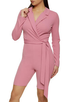 Collared Faux Wrap Romper - 1408015990280