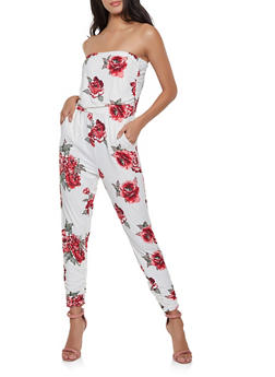 Floral Strapless Jumpsuit - 1408015990703