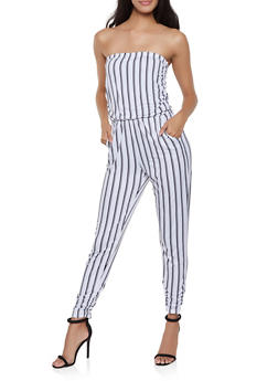 Striped Strapless Jumpsuit - 1408015990781