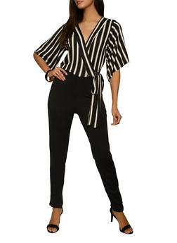 Faux Wrap Striped Jumpsuit - 1408015990900