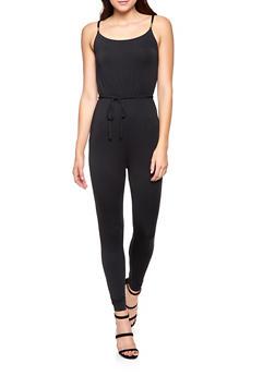 Sleeveless Tie Waist Jumpsuit - 1408015992233