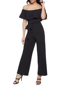 Crepe Knit Off the Shoulder Jumpsuit - 1408015993900