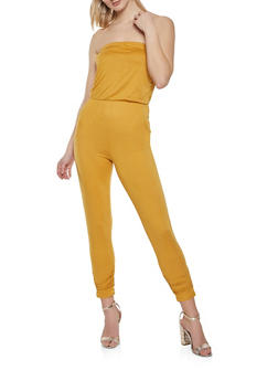 Ruched Strapless Jumpsuit - 1408015995016