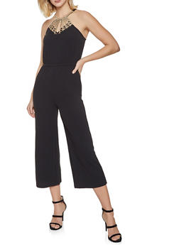 Beaded Neck Cropped Jumpsuit - 1408015996094