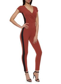Textured Knit Faux Wrap Jumpsuit - 1408015996095