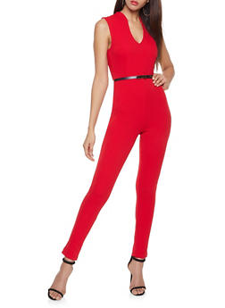Sleeveless Belted Jumpsuit - 1408015996905