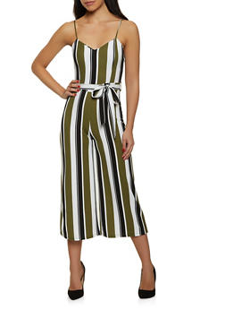 Striped Crepe Knit Wide Leg Jumpsuit - 1408015996974