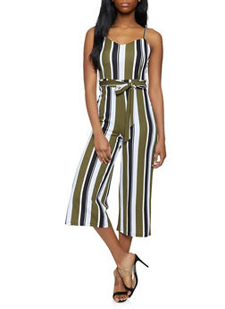 Cropped Striped Jumpsuit - 1408015997113
