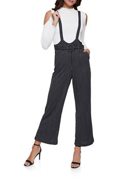 Belted Vertical Stripe Suspender Pants - 1408056574403