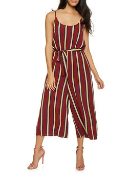 Striped Wide Leg Jumpsuit - 1408061353016