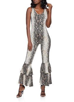 Snake Print Flared Leg Jumpsuit - 1408062121517