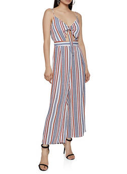 Tie Front Keyhole Striped Jumpsuit - 1408062705139