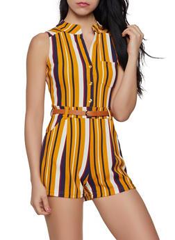 Striped Half Button Romper - 1408062705695