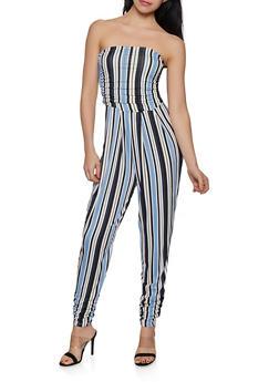 Striped Ruched Leg Jumpsuit - 1408062705712