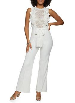 Sleeveless Belted Pintuck Jumpsuit - 1408062706913