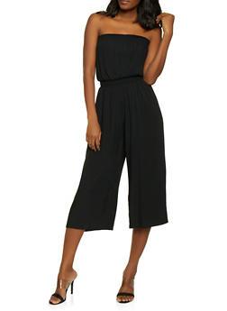 Smocked Wide Leg Jumpsuit - 1408068193208