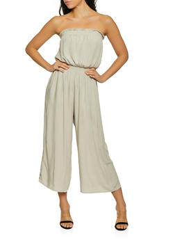 Smocked Wide Leg Jumpsuit - 1408068193208