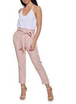 Paper Bag Waist Linen Jumpsuit - 1408068193273