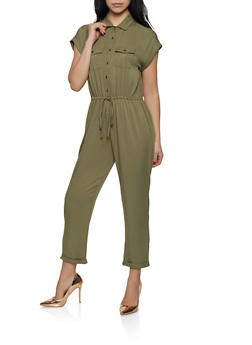 Button Front Jumpsuit   1408068193329 - 1408068193329