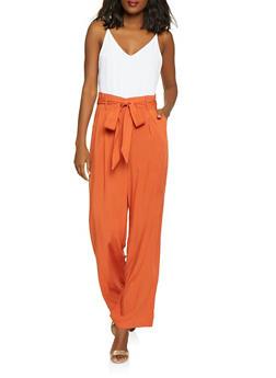 Paper Bag Waist Jumpsuit - 1408068193332