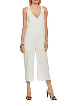 Oversized Linen Jumpsuit - 1408068197183